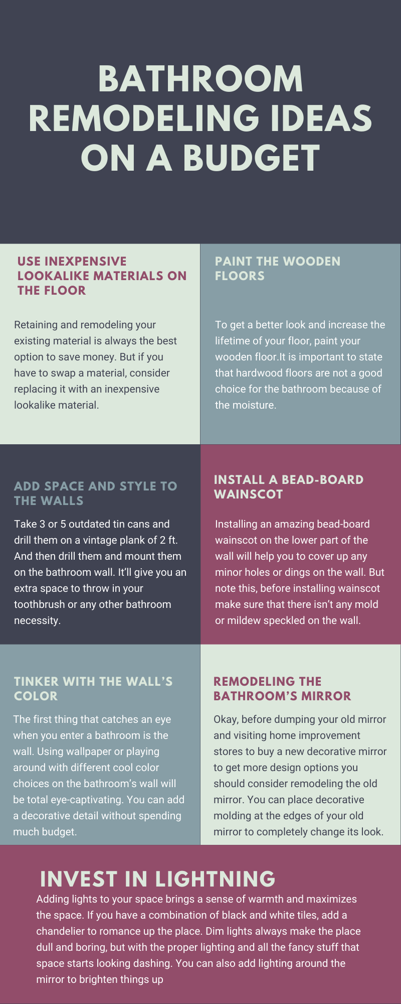 Bathroom Remodeling Ideas on a Budget - Infographic