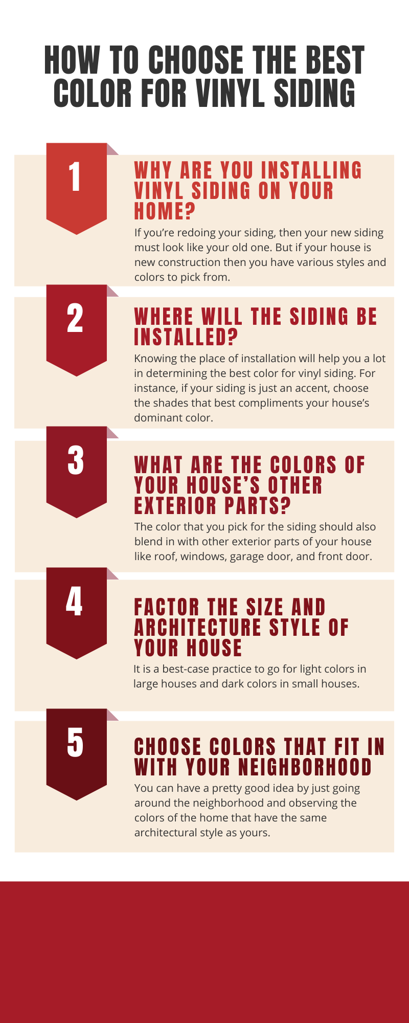How to choose the best color for Vinyl Siding - Infographic