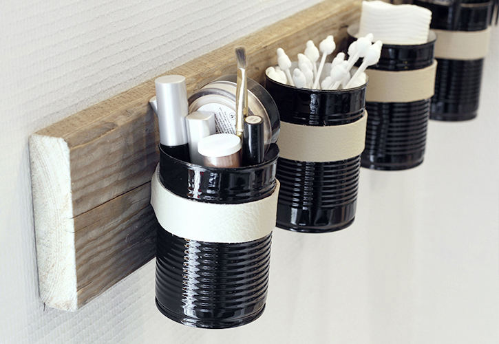 tin cans mouted on wall