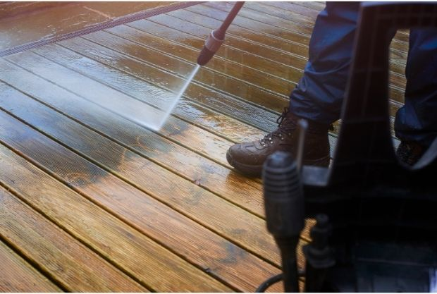Pressure washing to prevent slipping on deck